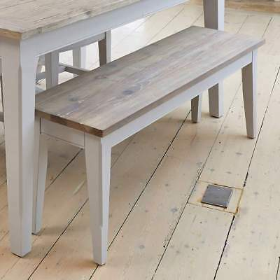 Signature Grey 130cm Dining Bench - Distressed Painted Hall Bench