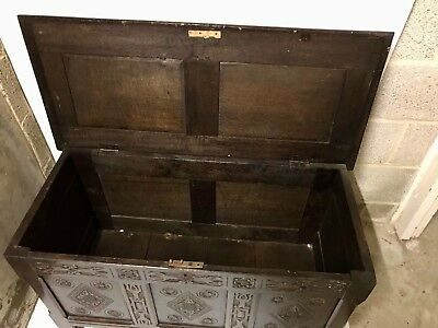 Large Antique Vintage Hand Carved Wood Chest Trunk