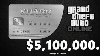 GTA V SHARK CARD PS4 Grand Theft Auto Online $5,000,000 (READ DESCRIPTION)