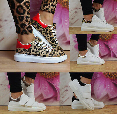 Ladies Womens White Chunky Trainers Leopard Rubber Sole Sneakers Shoes Size