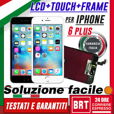 Display Lcd+Touch Screen+Frame Apple Iphone 6 Plus Retina Schermo Vetro+Pell_24H