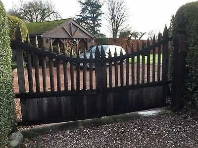 Antique Oak Double Gates For Renovation Or Salvage