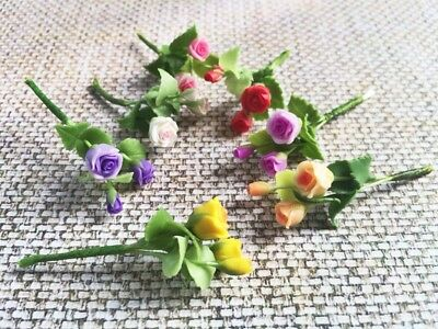 6 x Colorful Roses Flowers Artificial Clay Miniature Dollhouse Scale 1:12 #002