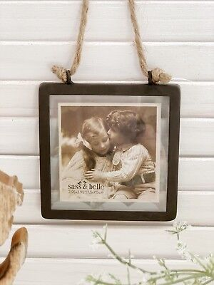 Square Metal Vintage Industrial Style Metal  Bronzed Hanging Photo Picture Frame