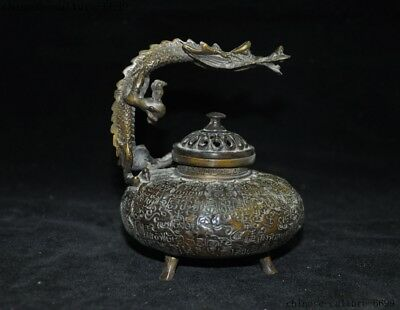 Marked China dynasty bronze calligraphy Text Dragon statue Incense Burner censer