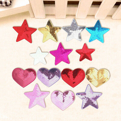 Star Heart Embroidery Sew On Iron On Sequins Patch Badge Fabric Applique Craft