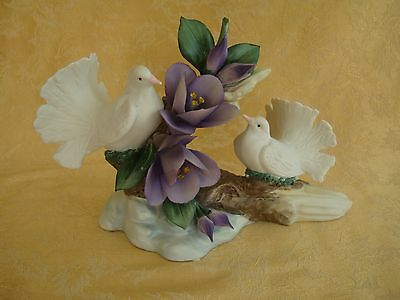 """Vintage Capodimonte Two White Doves With Purple Flowers Figurine 9 1/2"""" Long"""