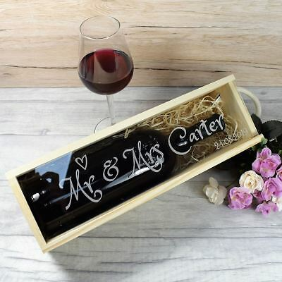Personalised Engraved Wooden Wedding Wine Box with Clear Lid - Mr & Mrs Gift