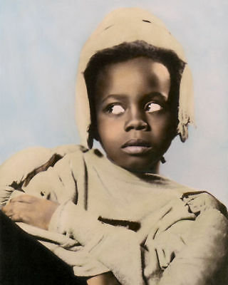 "BILLIE THOMAS BUCKWHEAT OUR GANG THE LITTLE RASCALS 8x10"" HAND TINTED PHOTOGRAPH"