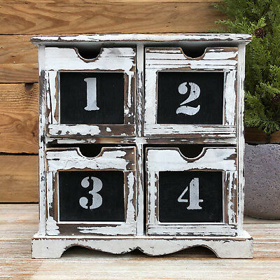 French Retro Chest Of 4 Numbered Drawers Storage Cabinet Wood Display Unit 37cm