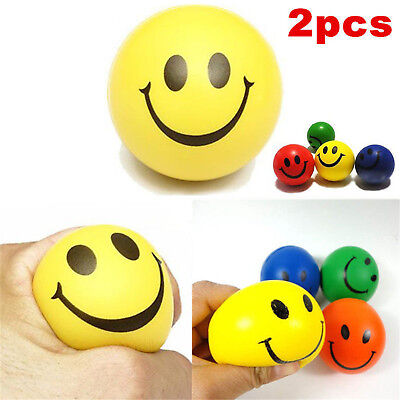 2PC Anti Stress Smiley Face Reliever Ball Stressball ADHD Autism Mood Squeeze BE
