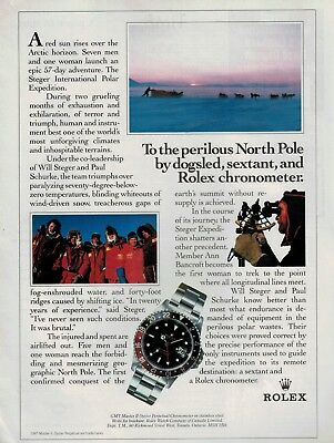 1987 ROLEX  GMT-MASTER ll Oyster Perpetual : NORTH POLE Magazine PRINT AD