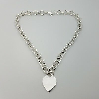 Tiffany & Co. Sterling Silver Heart Charm 10mm Rolo Chain Link 16' Inch Necklace