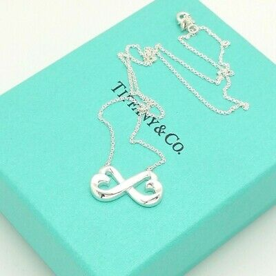 Tiffany & Co. Sterling Silver Paloma Picasso Double Heart 18'In Pendant Necklace