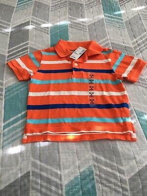 The Childrens Place Polo Striped Shirt Brand New 18-24 Months Orange Blue White