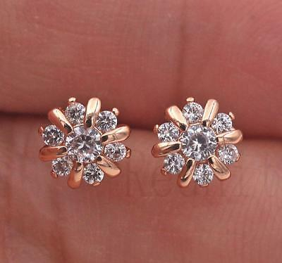 18K Yellow Gold Filled Earrings White Topaz Zircon Daisies Ear Stud Earbob Lady