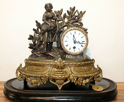 Antique French Mantel clock, about 1890 th table clock -Baroque Rococo