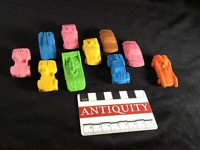 Vintage 1970's / 1980's MATCHBOX Erasers lot of 10 cars Soft Rubber Gomme