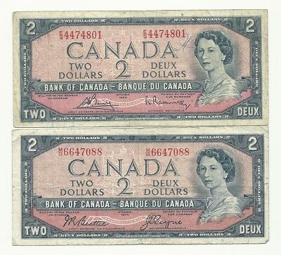 2 x CANADA 1954 TWO DOLLAR BANK NOTES