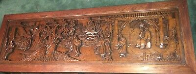 Antique Asian Coffee Table with Deep Carved Image