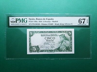 "1954 SPAIN 5 PESETAS P# 146a PMG 67 EPQ SUPERB GEM UNC ""FINEST KNOWN"""