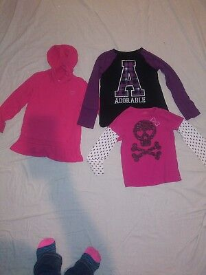 (Lot of 3) Girls Size 7/8 Tops pink purple long Sleeve