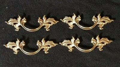 """Vtg French Provincial Drawer Pulls 3"""" Bore Keeler Brass Company N4576 Lot Of 4"""