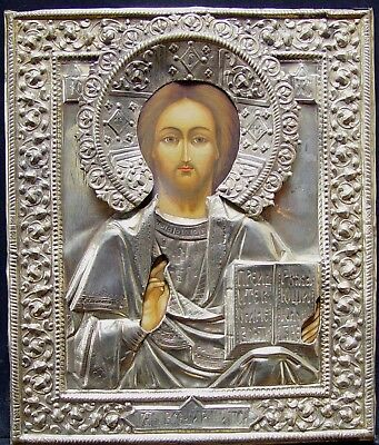 Old Antique Russian Icon Alte Ikone Christ Pantocrator 19th Century Russia