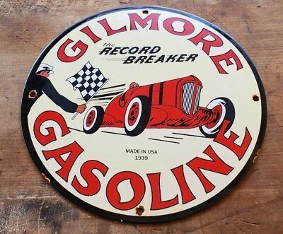 "Gilmore Record Breaker Porcelain Gas Pump Sign Pennzoil Race Can ""made In Usa 39"