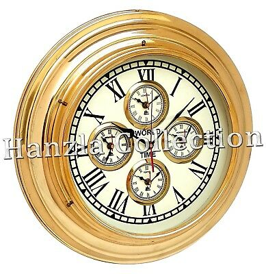 "17"" Brass World Time Clock Maritime Ship Wall Clock Nautical Home & Office Decor"