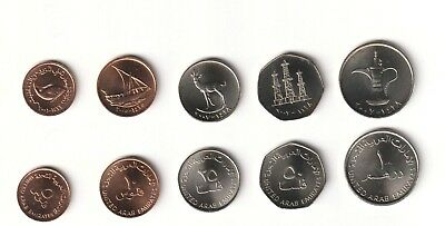 Emiratos Arabes  2001-2007 Set 5 Monedas 5,10,25,50,Fils + 1 Dirham  Unc
