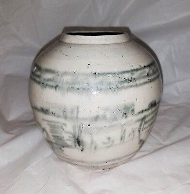 Antique Chinese Blue & White Pottery Storage Jar ; SGND