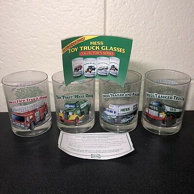Complete Set of 4 1996 Hess Toy Truck Drinking Glasses with Original Paperwork