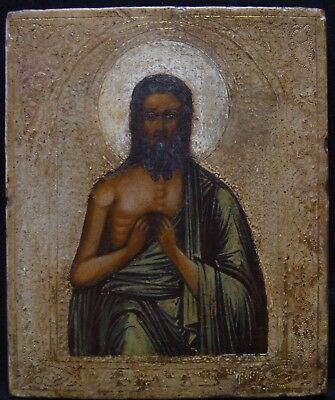 Old Antique Russian Icon Alte Ikone, Ikonen John the Baptist, 19th C.