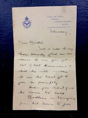 Ww2 Raf Battle Of Britain Very Rare Letter 1940 Ag Miller To Harold Bird Wilson