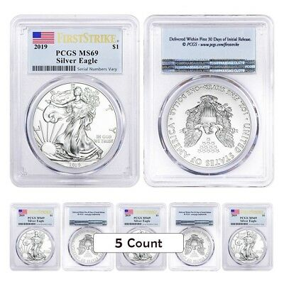 Lot of 5 - 2019 1 oz Silver American Eagle $1 Coin PCGS MS 69 FS (Flag Label)