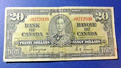1937 Bank of Canada Twenty-Dollar Note - L/E 0272939 - KEY SERIES - VF20