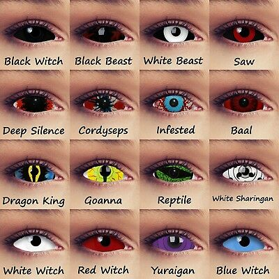 Full eye sclera contacts 22mm 17mm Halloween zombie witch costume colored lenses