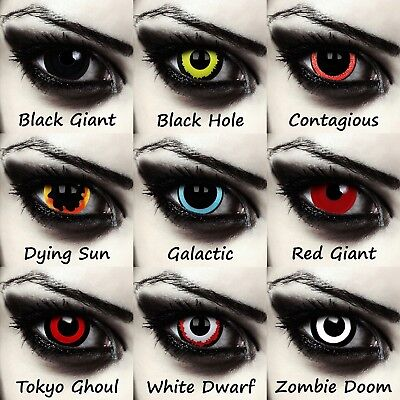 Sclera contacts 22mm 17mm Halloween zombie witch costume colored full eye lenses