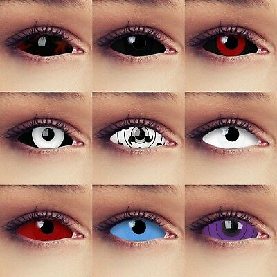 Full eye sclera contacts Halloween zombie witch costume cosplay colored lenses