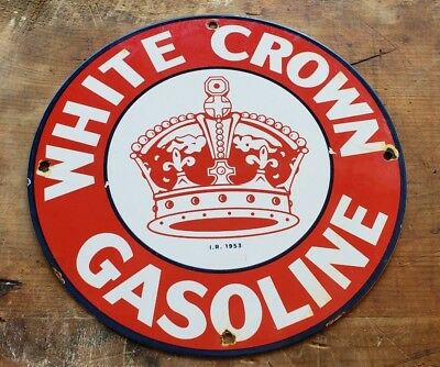 "Standard White Crown Porcelain Pump Plate Sign ""made In Usa I.r. 1953"" Can Ford"