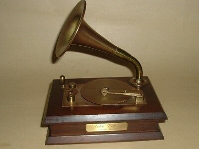 Grammy Award Statue Brass Phonograph Horn Willitts Moving Music Box  John Kuptz