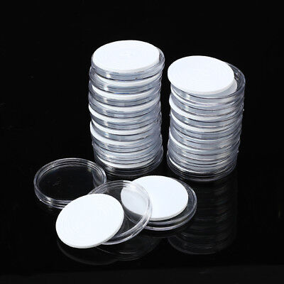 20Pcs Clear Round Plastic Coin Capsule Container Storage Box Holder Case 46mm