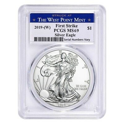 2019 (W) 1 oz Silver American Eagle $1 Coin PCGS MS 69 First Strike (West Point)