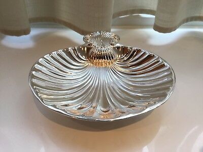 Lovely Vintage Grenadier Silver Plated Shell Footed Nut Dish