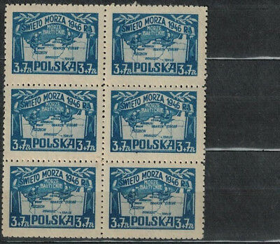 Poland Fischer # 406 Maritime Holiday . Block Of 6 .mnh Stamps 1946