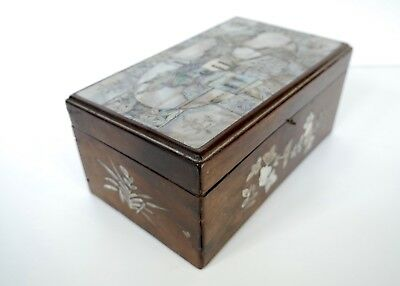 Antique Chinese Inlaid Mother of Pearl & Wooden Box c1900s