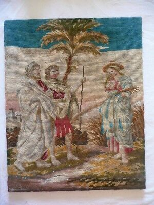 Rare Antique Woolwork Tapestry Biblical Ruth Among The Corn