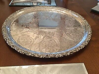 Superb Vintage Barker And Ellis Silver Plated Chased Footed Drinks Tray