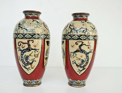 Pair Antique Japanese Cloisonne Vases with Dragons c1900s